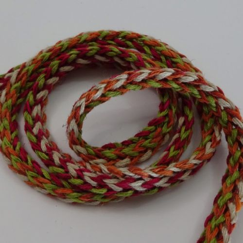 Tubular knit braid Red, Orange Green Oat 1.5cm wide